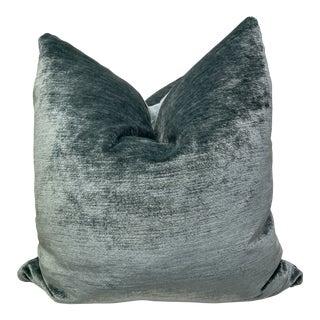 """Plush Velvet in Aqua 22"""" Pillows-Pair For Sale"""