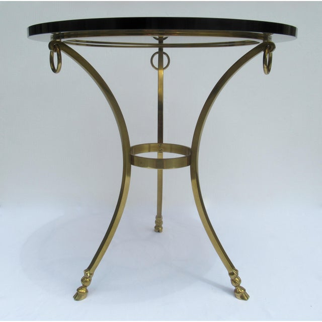 Vintage LaBarge Regency Brass Hoofed & Bronze Glass Gueridon Table For Sale In West Palm - Image 6 of 13