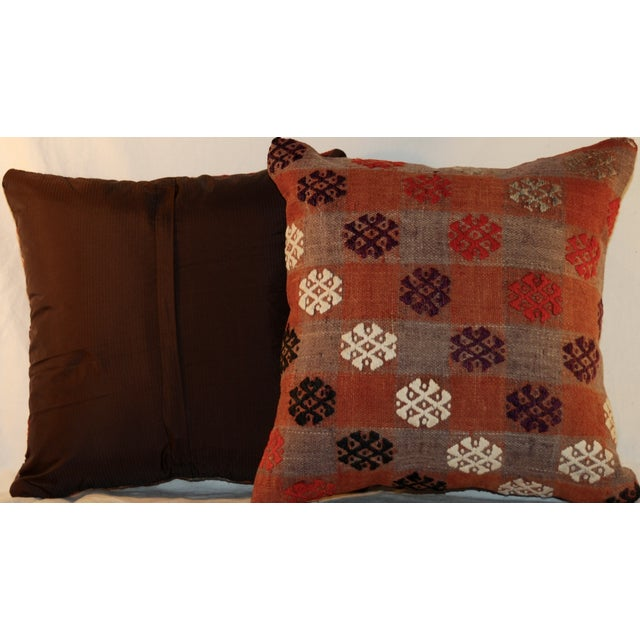 Vintage Handmade Kilim Pillows - a Pair - Image 6 of 7