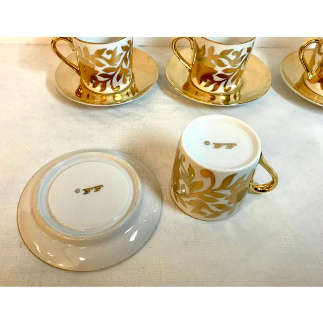 Fitz and Floyd Vintage Gold and White Fitz and Floyd Demitasse Set - Set of 4 For Sale - Image 4 of 5