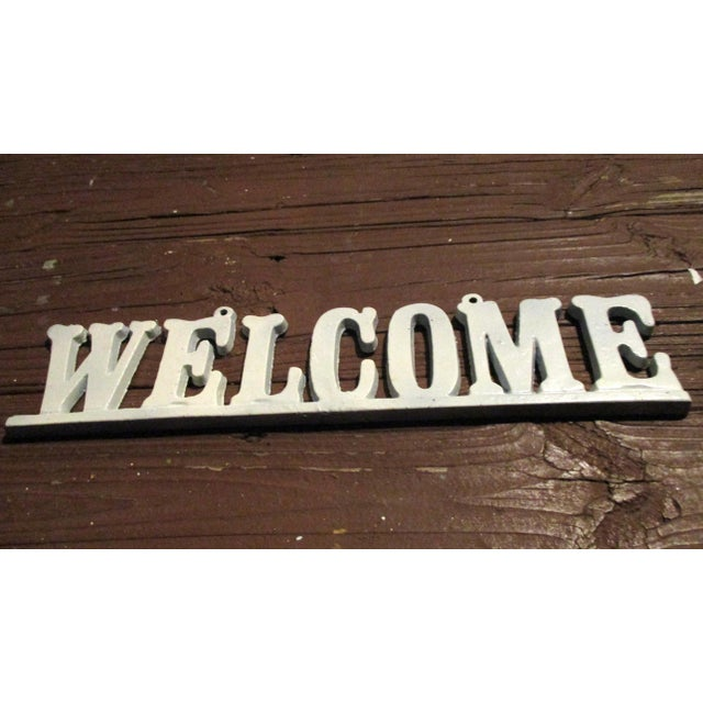 """Vintage Cast Iron """"Welcome"""" Hanging Sign For Sale In Atlanta - Image 6 of 8"""