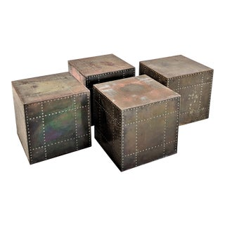 1970s Mid-Century Modern Sarreid Brass Cube Side Tables - Set of 4 For Sale