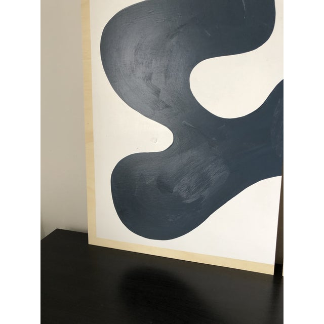Navy and White Abstract Diptych on Wood For Sale In Los Angeles - Image 6 of 11