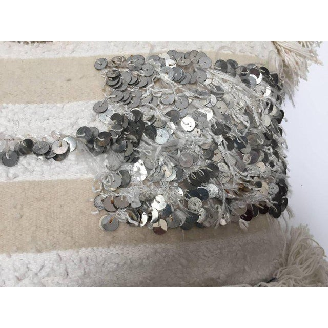 Mid 20th Century Moroccan Wedding Pillow With Silver Sequins and Long Fringes For Sale - Image 5 of 10