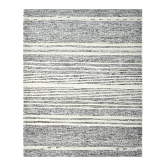 Lorrena, Contemporary Flatweave Hand Woven Area Rug, Gray, 8 X 10 For Sale - Image 9 of 9