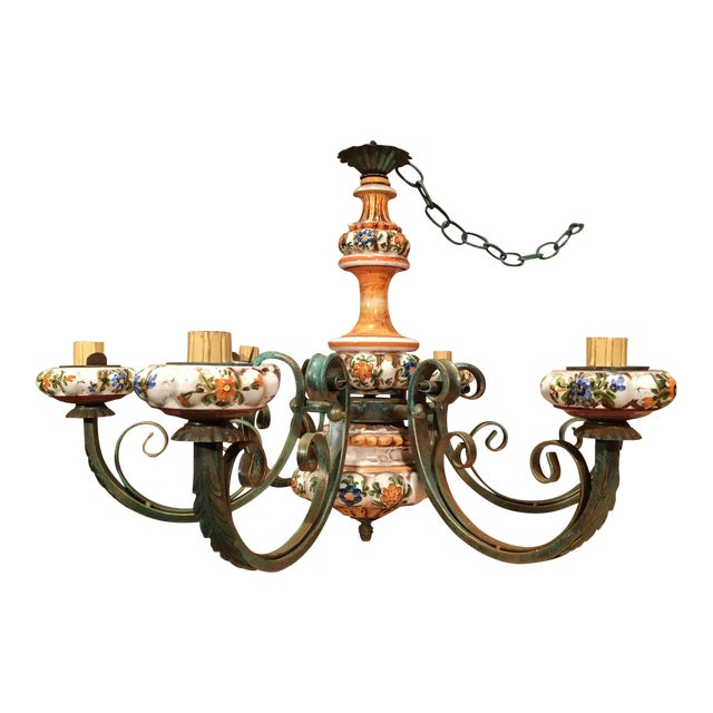 Vintage Italian Tole Painted Pottery Chandelier For Sale