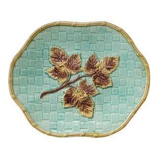 Antique English Leaf & Basketweave Majolica Scalloped Plate For Sale