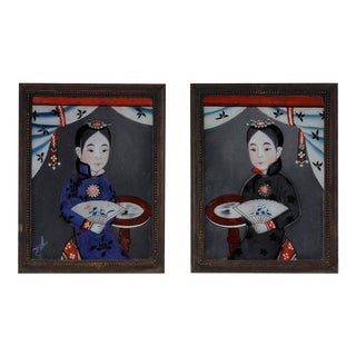19th Century Chinese Reverse Glass Paintings - A Pair For Sale