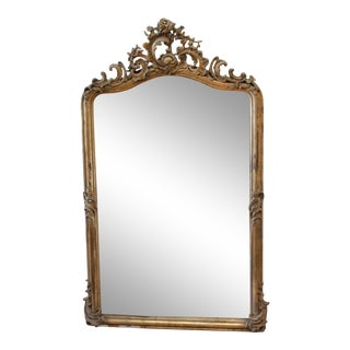 Vintage Louis XV Style Giltwood Carved Mirror For Sale