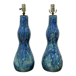 1960s Mid Century Blue Ceramic Lamps- A Pair For Sale