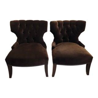 Room & Board Brown Velvet Slipper Chairs - a Pair