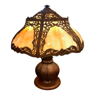 Antique Arts and Craft Bronze and Slag Table Lamp For Sale