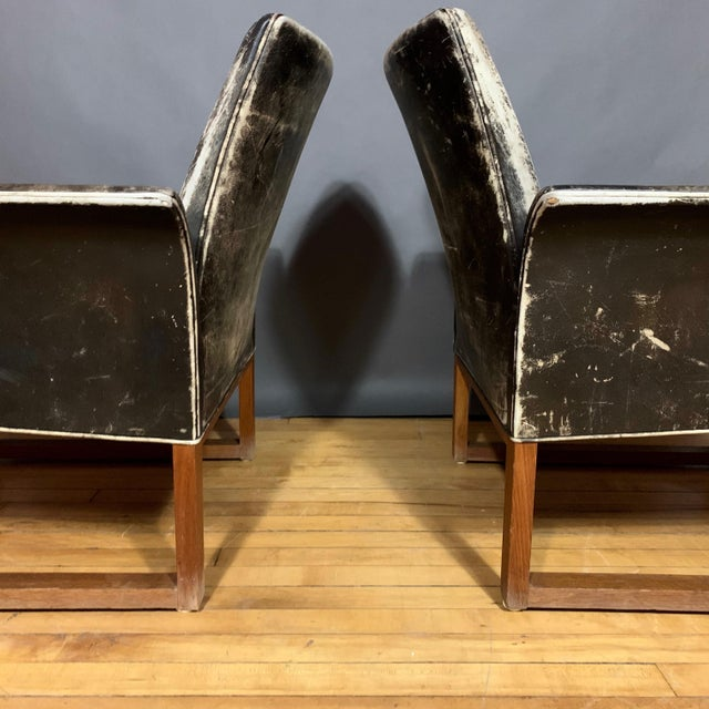 Black Pair of Danish 1960s Faded Black Leather Lounge Chairs For Sale - Image 8 of 13