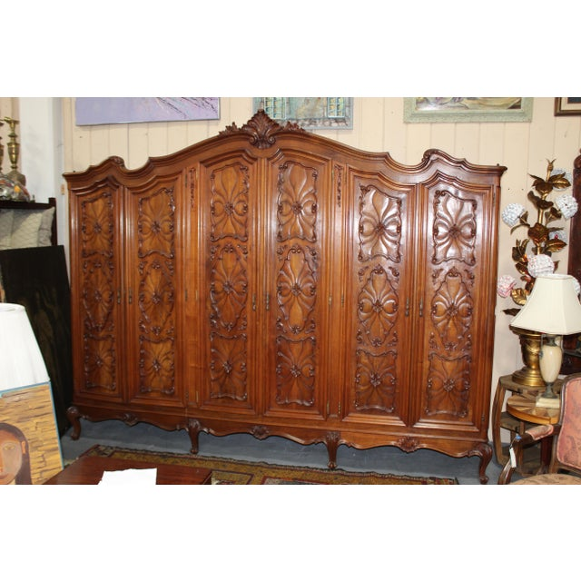 """Fantastic and very rare massive """"triptych armoire"""" probably French of Belgium late 19c. Very rare to be this wide and also..."""