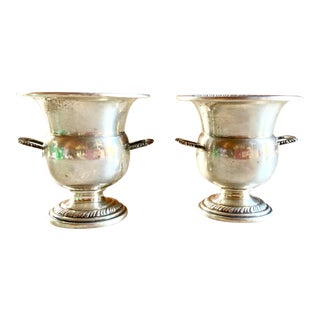 Two Sterling Silver Urns Mid Century For Sale