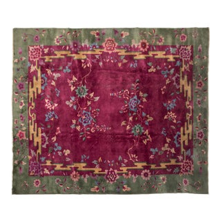 Antique Chinese Nichols Pink Rug With Green Border For Sale