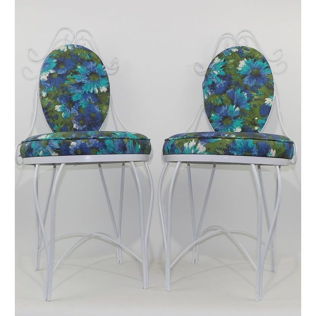 Mid-Century Modern Wrought Iron Patio Chairs - A Pair - Image 3 of 10