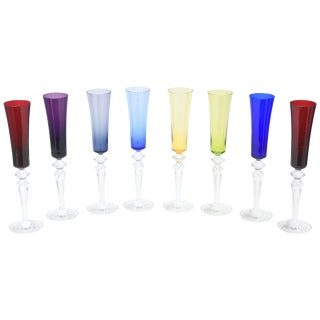 Baccarat Crystal Champagne Flutes - Set of Eight For Sale