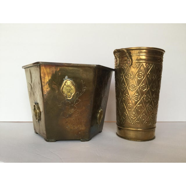 1980s Vintage Brass Planters - A Pair For Sale - Image 4 of 10