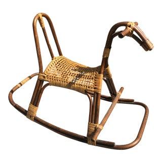 Mid-Century Franco Albini Rattan & Bamboo Rocking Horse For Sale