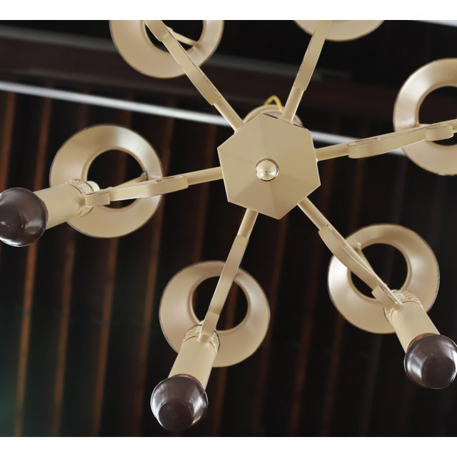 Vintage Chandelier With Six Lamp Holders With Shades For Sale - Image 9 of 10