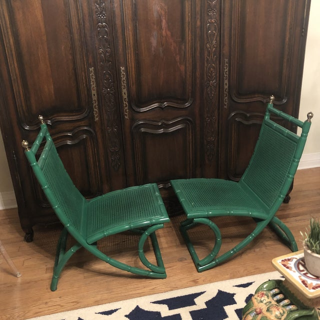 Campeche Green Faux Bamboo Chairs - a Pair For Sale - Image 4 of 9