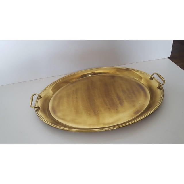 Large Vintage Hollywood Regency Brass Handled Serving Tray For Sale - Image 9 of 11