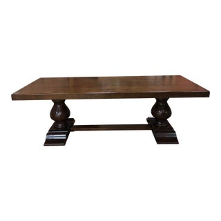 French Country Solid Oak Dining Table For Sale