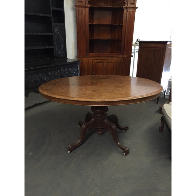 English Traditional English Burl Walnut Center Table C.1870 For Sale - Image 3 of 5