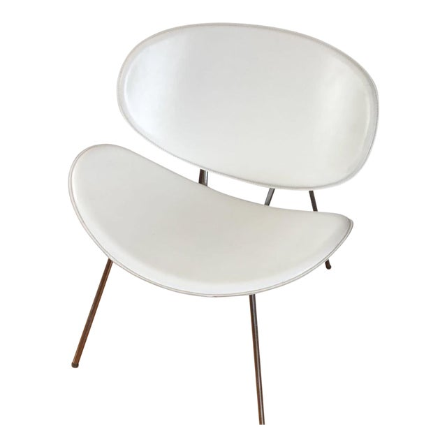 White Leather Clam Shell Chair For Sale