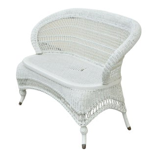 Antique Victorian White Wicker Barrel Back Small Settee Loveseat Sofa Cane Seat For Sale