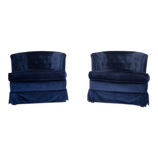 Navy Blue Velvet Barrel Chairs - a Pair