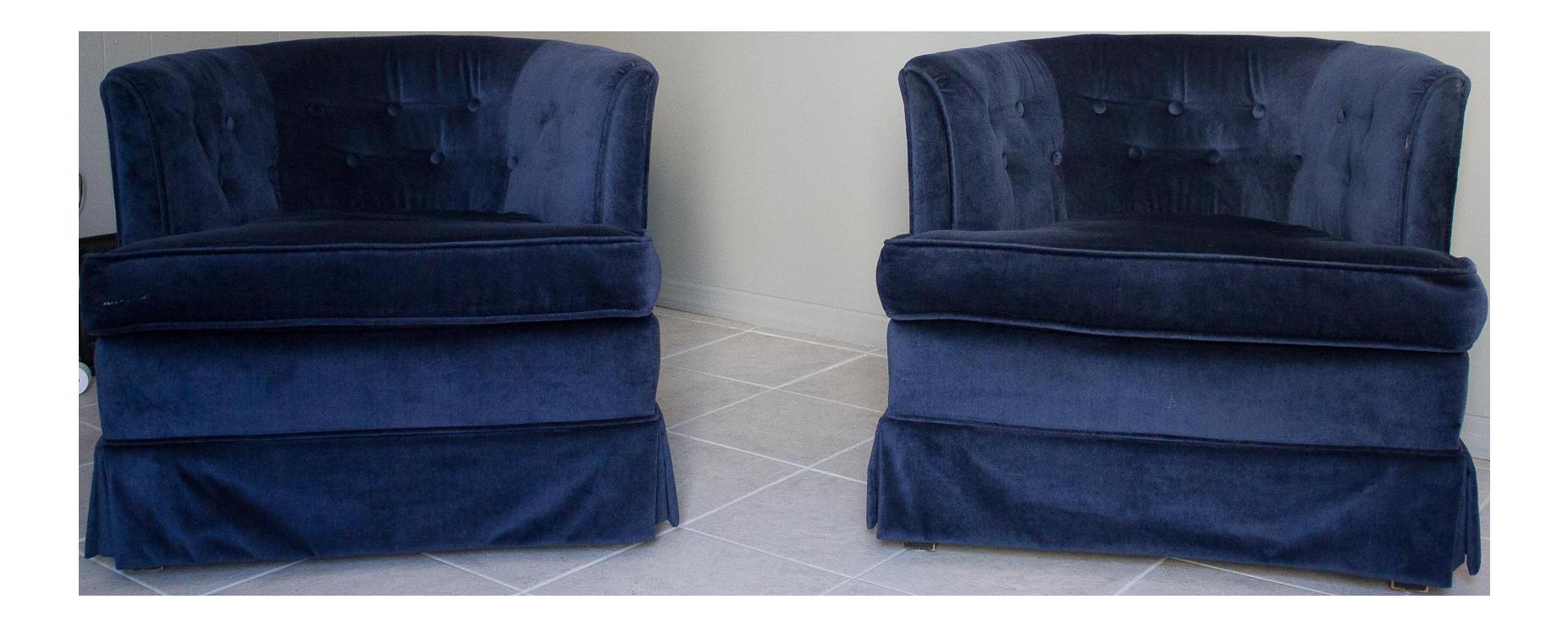 Navy Blue Velvet Barrel Chairs   A Pair