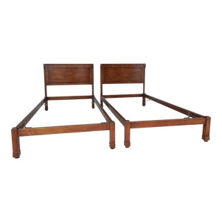 Old Colony Regency Style Walnut Twin Beds - a Pair