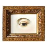 Image of Contemporary Lover's Eye Painting by Susannah Carson in a Victorian Marbled Frame For Sale