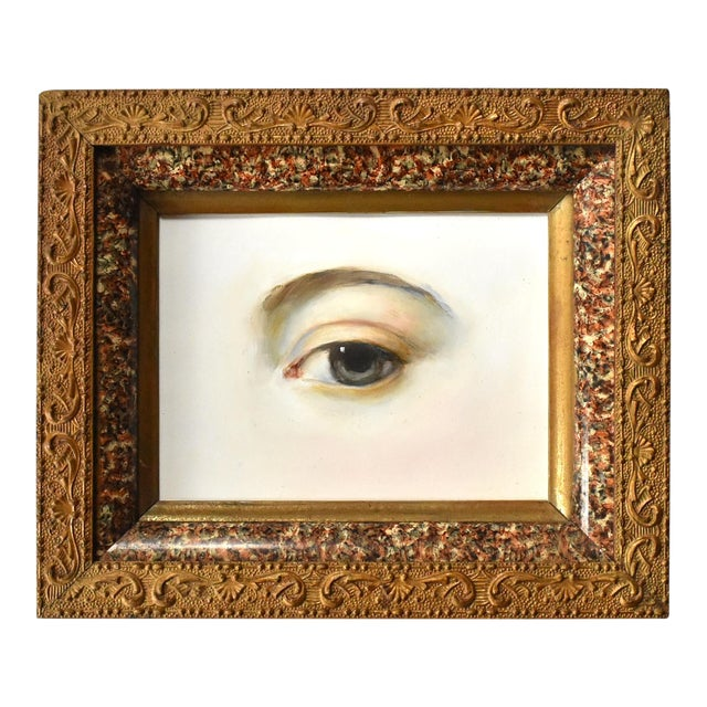 Contemporary Lover's Eye Painting by Susannah Carson in a Victorian Marbled Frame For Sale