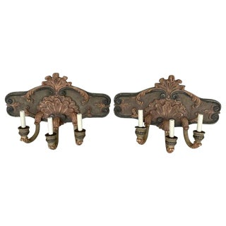 Pair of Large Shell Carved Polychromed Three-Light Sconces For Sale