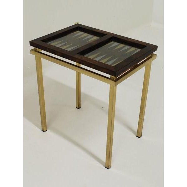 Burl Wood and Brass Backgammon Game Table For Sale - Image 9 of 9