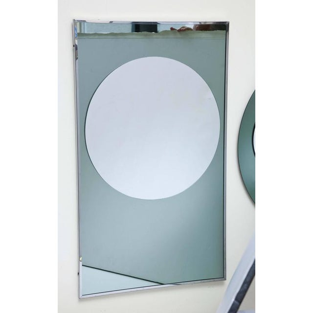 This is a pair of unique, modern round and rectangular mirrors with 3d circles. They are all glass venetian wall mirrors....