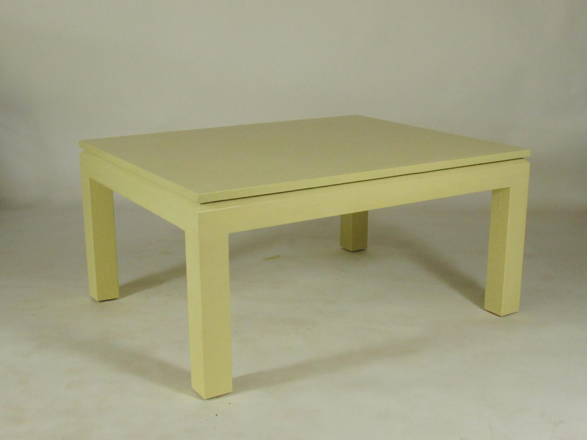 A Custom Mid Century Karl Springer Style Linen Wrapped Coffee Table With  Off White