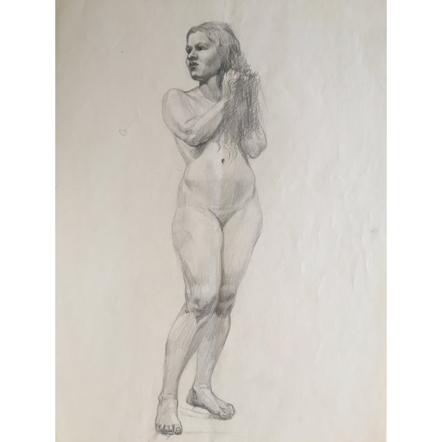 Mid-Century Drawing of Standing Nude Female For Sale - Image 4 of 4