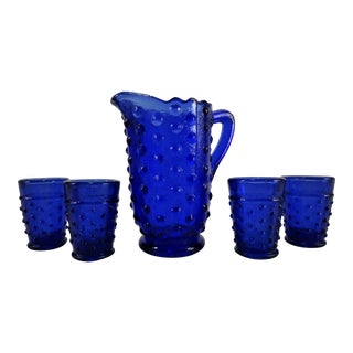 Vintage Miniature Cobalt Blue Hobnail Pitcher With 4 Glasses For Sale