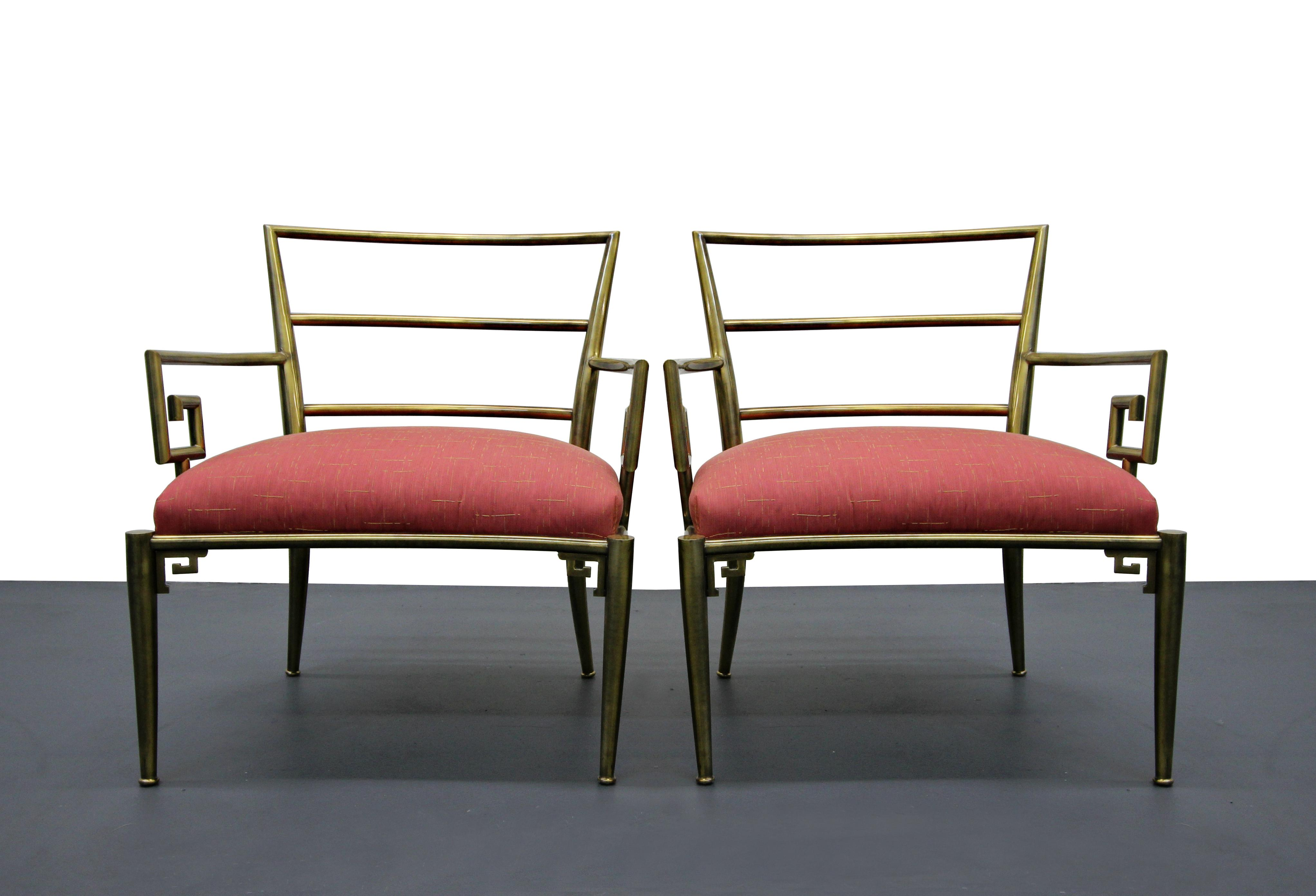 Mid Century Italian Solid Brass Greek Key Arm Side Chairs   A Pair   Image