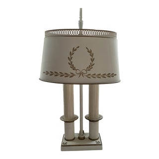 1970s French Bouillotte Napoleon Laurel Victory Wreathe Bow Knot Tole Metal Lamp For Sale