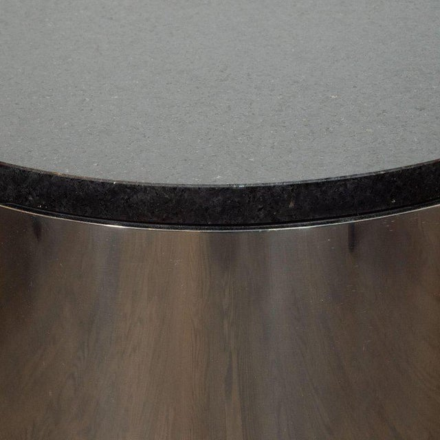 Contemporary Mid-Century Modern Cylindrical Drum Form Chrome and Granite Occasional Table For Sale - Image 3 of 9