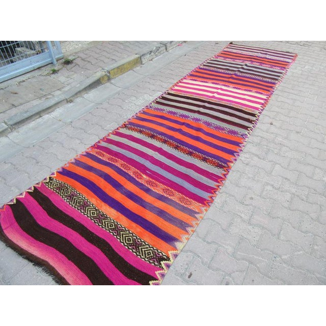 1960s Turkish Striped Kilim Runner For Sale - Image 4 of 6