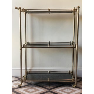 Gabby Home Lloyd Bar Cart in Brushed Metal With Black Antiqued Mirror Shelves Preview