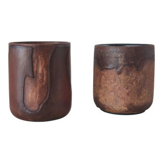 Late 20th Century Ceramic Vessels Great as Pen Holders - a Pair For Sale