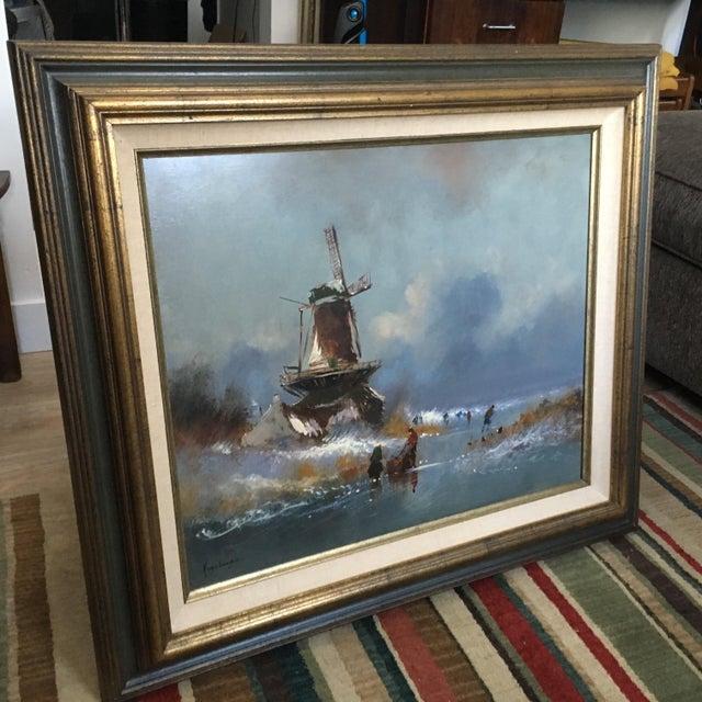 Dutch Windmill On Frozen Pond By Harrij Van Dongen - Image 3 of 10