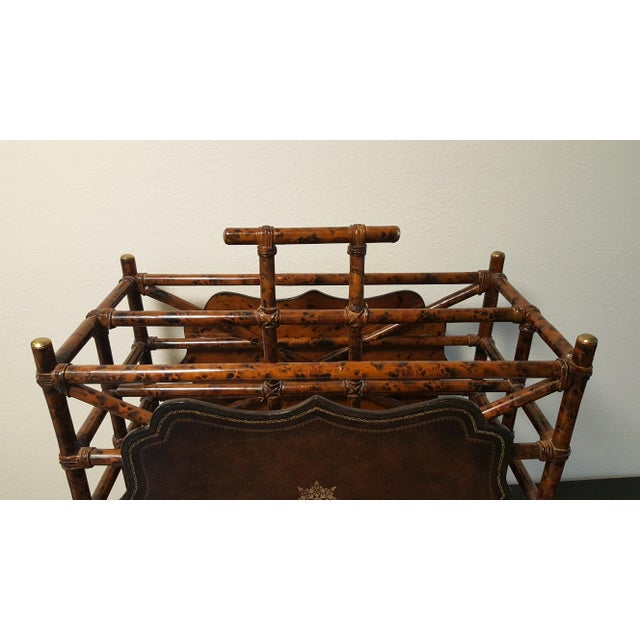 1960s 1960s Mid-Century Modern Maitland Smith Bamboo and Leather Magazine Rack For Sale - Image 5 of 9